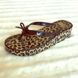 Kate Spade Black and Leopard Flip Flops